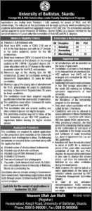 MS and Ph.D. scholarships by the UNIVERSITY OF BALTISTAN