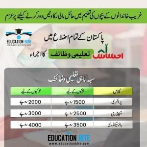 Ehsaas educational funds from primary to inter 2021. educationbite.com