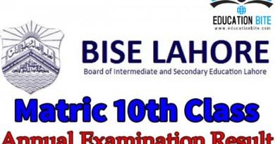 BISE Lahore Board Matric 10th Class Result 2021, educationbite.com